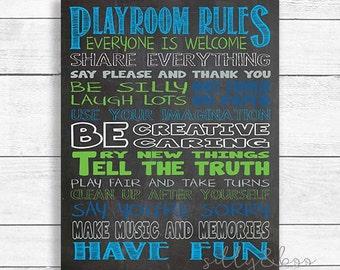 Playroom Rules, Chalkboard Playroom Rules, Playroom Wall Art, Playroom Decor, DIGITAL FILE ONLY