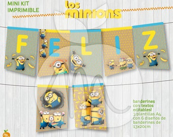 Printable banners MINIONS! Editable texts! Happy birthday party! INSTANT DOWNLOAD! Craft, vintage, yellow and blue design