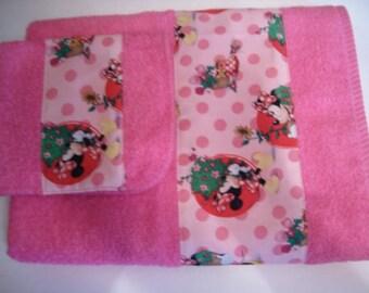 Towel Set, 2piece, Minnie Mouse.
