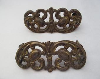 Two Vintage Metal Drawer Pulls / Decorations
