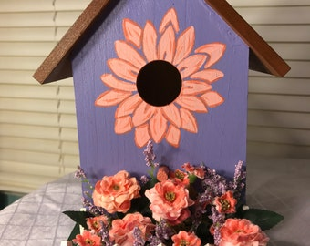 Purple and coral birdhouse
