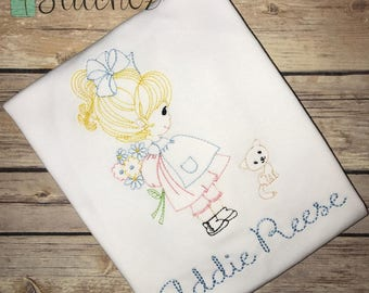 Vintage Girl With Kitty Embroidery Design ~ Instant Download ~ Vintage~Sketch~Bean~Heirloom Stitch