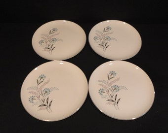 """Vintage Taylor Smith Taylor TST  117 Bachelor Button 10 1/4"""" Dinner Plate set of four (4)"""