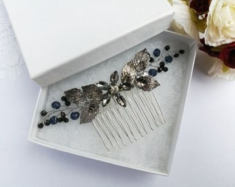Black flower hair comb, black hair piece, rhinestone hair comb, black crystal hair comb, black hair comb, wedding hair comb