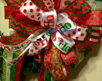 Santa Claus Tree Topper Bow, Ho Ho Ho Tree Bow, Whimsical Christmas Tree Topper Bow, Let it Snow Wreath Bow, Red Green Tree Bow, Winter Bow,
