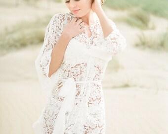 Im Lager Größe hat XS/S - - Bademantel - Kimono Spitze - Baumwolle Spitze Hochzeit - Elfenbein - Stil 916