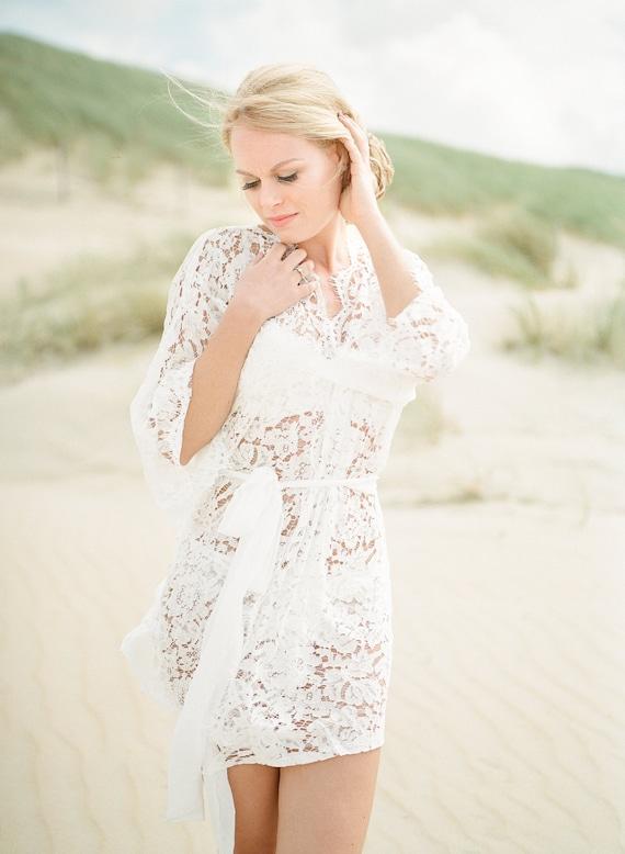 En stock taille XS/S - Ellea- Peignoir dentelle coton - Kimono dentelle - Mariage - ivoire - STYLE 916