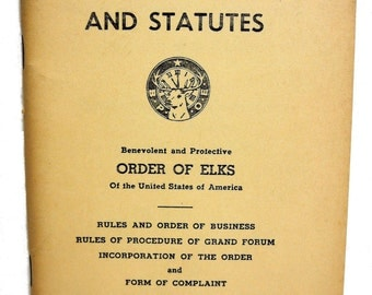 Constitution and Statutes Order of Elks 1960