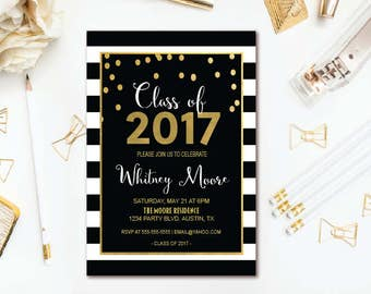Black Stripe Graduation Party Invitation - Gold Confetti Graduation Invitation - Printable Invite
