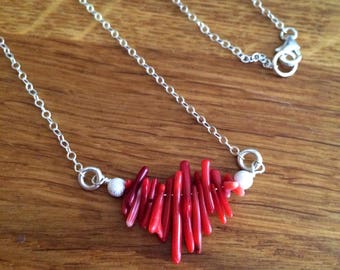 Red Coral branch necklace - Sterling Silver