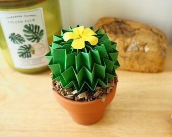 Cactus Origami In Leaf Green & citroen gele bloem-Decor-thuiskantoor Decor-House Warming Gift-1e verjaardag cadeau-vaders dag Gift-Dad geschenk