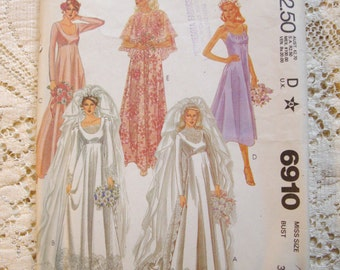 Vintage McCall's Pattern #6910. Wedding Dress Capelet, Train Bridesmaids * 1979 * Size 8