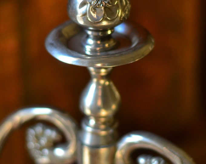 SILVER TRIPLE CANDELABRA, wedding, silverplate candle holder, table centerpiece, french country, cottage chic