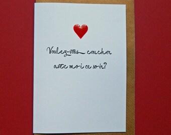 Voulez vous couchez avec moi ce soir? Husband, Wife, Boyfriend, Girlfriend, Birthday, Anniversary, Love - Hand-enamelled art card.