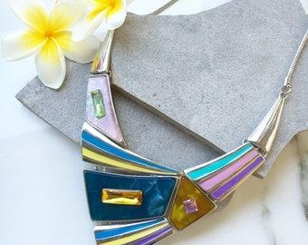 Enamel Statement Necklace, Multicolor Bib Necklace, Silver Choker Necklace, Silver Bib Necklace, Metal Necklace, Colorful Chunky Necklace