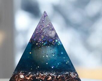 Orgone Pyramid - Galaxy- Clear Quartz, Rose Quartz, Peach Selenite