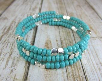 Turquoise Memory Wire Bracelet, Turquoise Bangle, Teal Seed Bead Bracelet, Southwest Bangle Bracelet, Gift for Her
