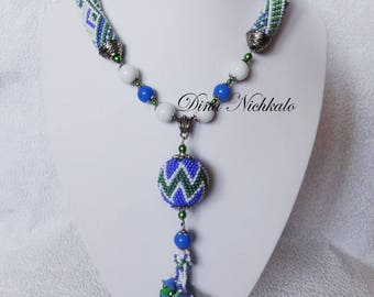 Bead Crochet Necklace Colorful beaded necklace beaded crochet rope elegant beaded necklace unique necklace chocker style