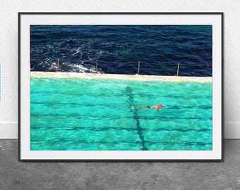 Pool, Swim, DIGITAL Download, Bondi Beach, Summer Photography, Beach Photography, Aqua, Modern, 11x14 Inch File, Wall Art, Home Decor