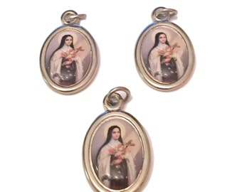 LOT OF 3 Saint Theresa Catholic Photo Medals From Italy Pendant Jewelry Findings