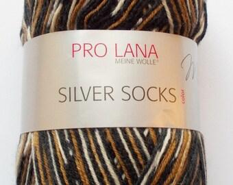 sock yarn 100g (5,-Euro/100g), brown-black-white, 4ply (200)