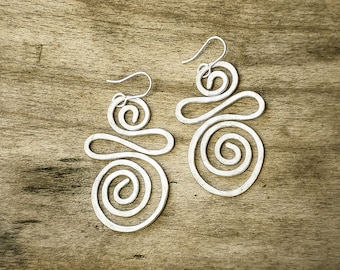 Bohemian Silver Earrings, Dangle Earrings, Statement Earrings, Spiral Earrings, Large Earrings, Wedding Earrings, Charm Lightweight Earrings