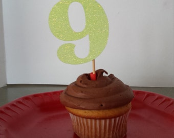 """9th Birthday Cake Toppers...9th Birthday Cupcake Toppers ...Set of 12...Number""""9 """" in Glitter-choose your Color"""