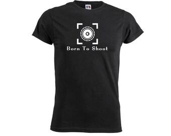 Born To Shoot Mens Soft T shirt Photography Funny Camera Photographer Artists