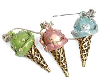Ice Cream Cone Earrings, Ice Cream Jewelry, Dessert Earrings, Summer Jewelry, Food Jewelry, Minature Food, Gift for Teen Girl E272