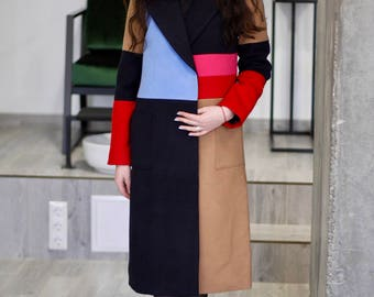 Colorblock coat/ Patchwork coat / Oversized coat/ Jacket coat/ Long midi coat/ Wool blended coat/ Straight cut coat/ Beige red navy blue