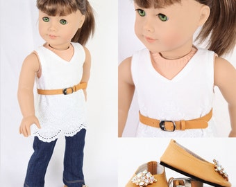 Handmade to fit like American Girl Doll Clothes, 18 Inch Doll Clothes, MODERN CITY CHIC, Embroidered Tunic, Denim Jeans, Ballet Flats, Belt