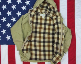 Vintage 1980's LL Bean Baxter State Parka Small/Medium Wool Lined Jacket Coat Beige Plaid Tartan 60/40 Made in USA Hooded Freeport