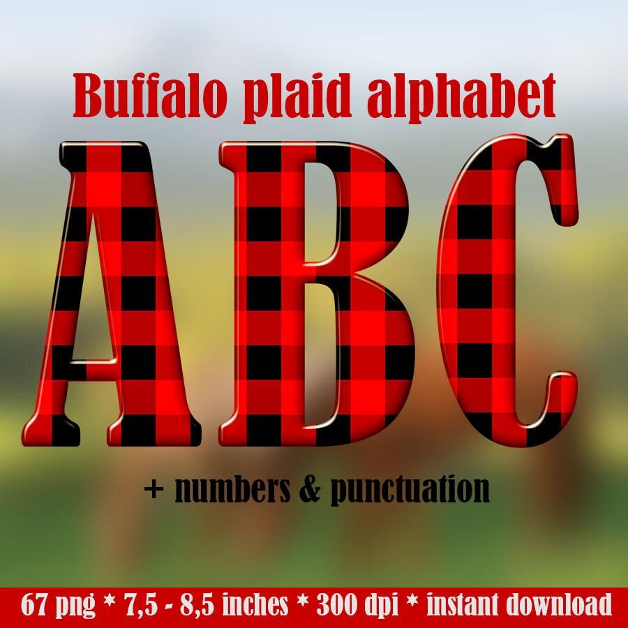 Buffalo Plaid Digital Alphabet Clipart Red Black Plaid