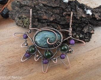 Kambaba jasper pendant necklace Copper wire pendant Crocodile jasper pendant Wire wrapped pendant necklace Green boho pendant necklace OOAK