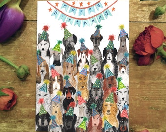Greetings card- Dogs Birthday! Illustration by HattieHat