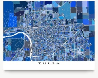 Tulsa Oklahoma Tulsa Map Art Print Us City Street Maps Blue Map