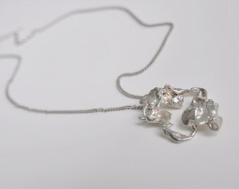 Modernist Sterling Silver Pendant and Chain Mid Century Jewelry Netherland Dutch Design
