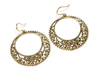 Large Flat Hoop Earrings hanging handmade, Brass, African Earrings ,  Circle Earrings, Gift boxed,Free UK post BG10