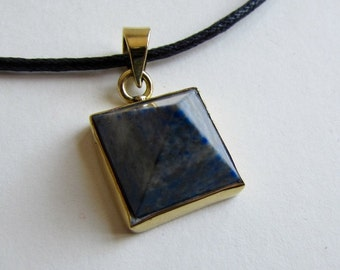 Lapis Lazuli Crystal Point on Wax Cord  Pyramid Shape Pendant Adjustable Unisex Free UK Shipping + Gift Bag L2BP17