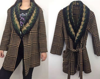 Vintage Plaid & Knitted Belted Jacket - Boho winter jacket - Bohemian Hippie - Belted Plaid Coat - Tie Jacket - Wrap Jacket - Brown Camel