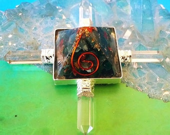 ORGONE Solid BLOODSTONE and Copper Four Point Pyramid Energy Generator With 4 Crystal Quartz Points, Orgonite, Reiki Healing