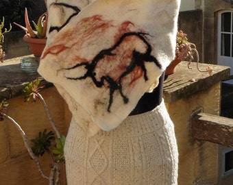 Nuno felt scarf with animal cave drawings