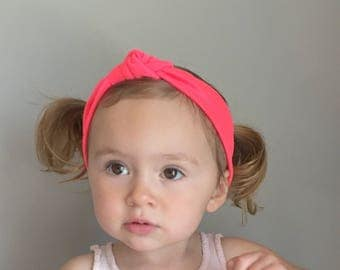 Baby Turban Headwrap in Neon CORAL