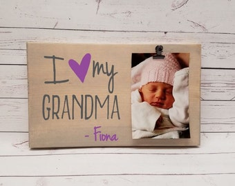 i love my grandma picture frame gift gift for memaw mimi photo board picture with clip wood grandma mom dad aunt uncle gift gma7x12