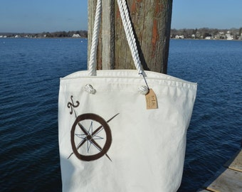 Large Recycled Sail Bag with Nautical Compass Applique