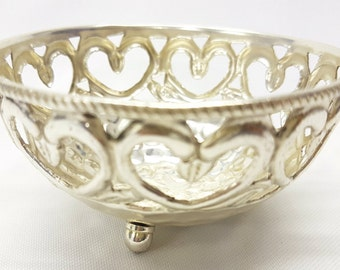 Silver Plated Bowl with Love Heart Design
