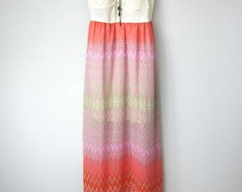 Sunset Colors, Vintage Ivory Cream Crochet Spaghetti Strap Maxi Dress in Cream, Magenta, Orange, Pink, Geometric, Aztec Print Sheer Skirt