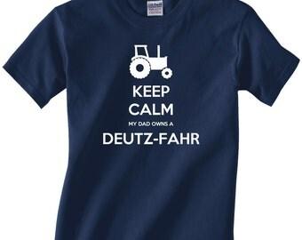 Kids Youth tractor/farming t-shirt - Keep Calm My Dad Owns a Deutz-Fahr