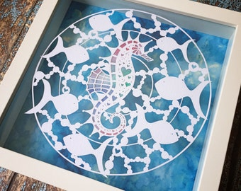 Original framed seahorse papercut  - Original Art