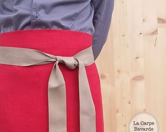 Red linen kitchen apron